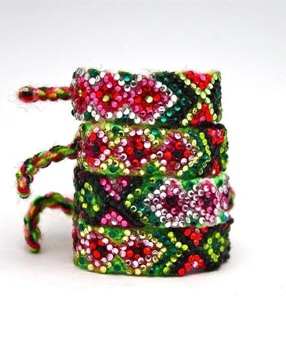The Original Swarovski Crystal Friendship Bracelet- English Rose Design ( Pink, Celadon, Green, Black, & Red))