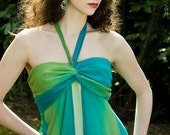 Aqua & Green Chiffon Halter Style Sleeveless Gown Dress Size 4
