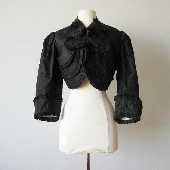 Antique Victorian Jacket Ruffle Waist Gothic Steampunk 1800s Vintage