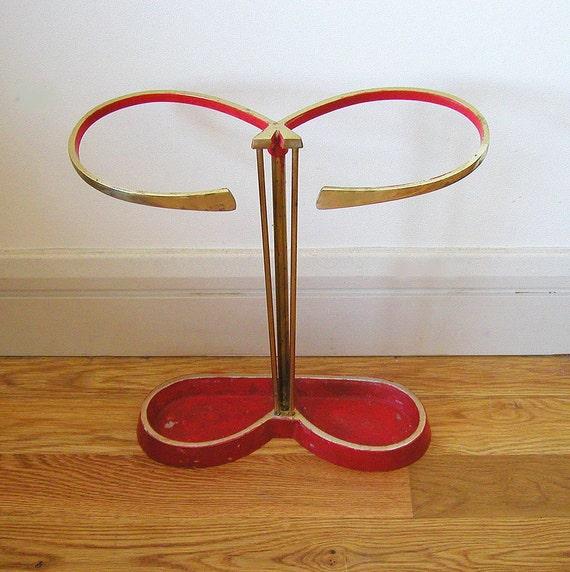 Curvy Mid Century 50s Umbrella Stand 1950s Vintage Brass Eames Era Vintage