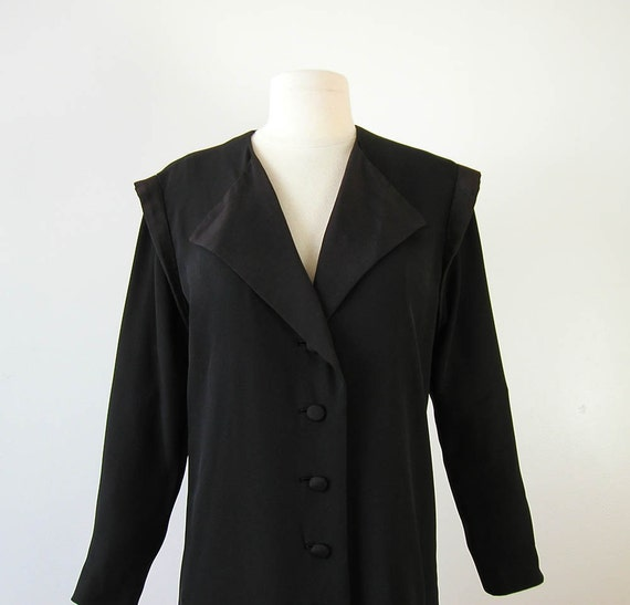 80s Avant Garde Rocker Coat Winged Shoulder Long Vintage Coat Black Jacket 1980s