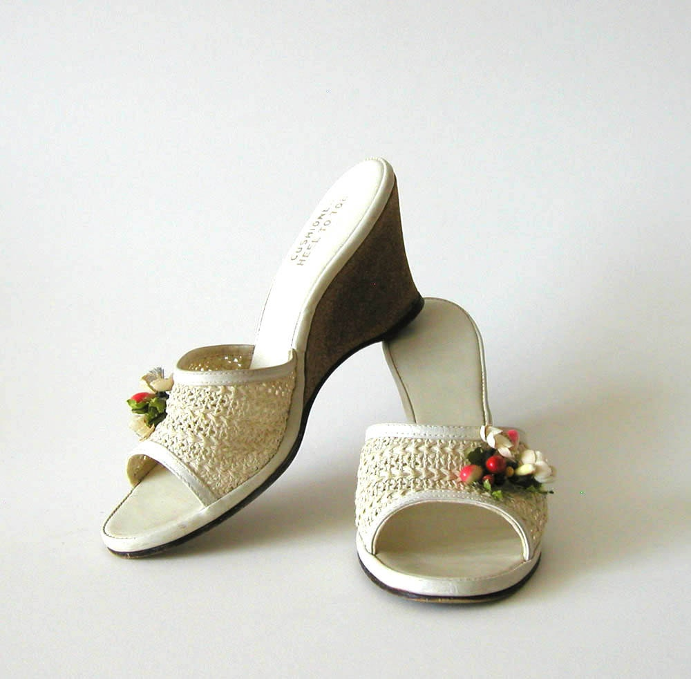 1950s 50s Wedge Shoes Vintage Sandals Pinup Peep Toe By