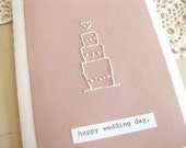 happy wedding day. - hand embroidered PINK wedding cake card