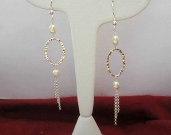pearl and sterling silver chain earrings * bridal earrings * bridal jewelry * bride * wedding * pearl earrings * elegant