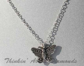 thai silver butterfly necklace * sterling silver chain * butterflies * birthday gift * Mother's Day gift * springtime necklace