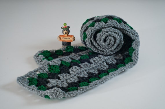 Granny Square Scarf, Granny Length, Heather, Hunter and Black Granny Square, Crochet  Granny, Ready to Ship