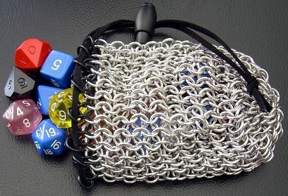 Black and Mithril Chain Mail Dice Bag