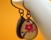 tear drop earrings - fuschia blooms