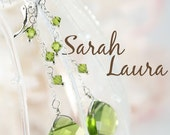 Swarovski crystal earrings stunning green drop