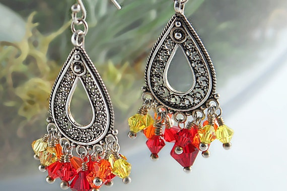 Cluster crystal earrings with sterling silver and fire red Swarovski crystal