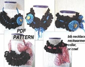 CROCHET PATTERN... COWL, Collar or Bib Necklace Style accessory.