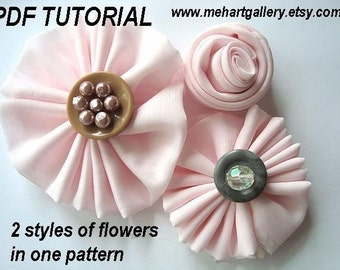 Flower tutorial,  HANDKERCHIEF flowers, num26, . .2 STYLES or make them with a 12 inch square of  fabric  No sewing machine.