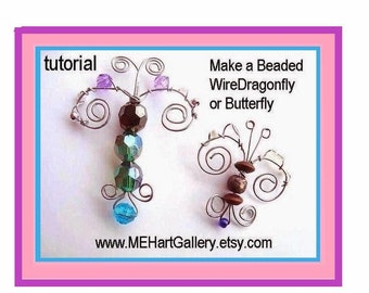 Jewelry supplies beading TUTORIAL,  Butterfly, or Dragonfly Pendant. num. 75... make them any size... permission to sell your finished items