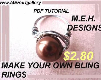 jewelry tutorial, ring diy pattern 42A  ..... make your own WIRE WRAPPED Rings  using stainless steel wire from the hardware store