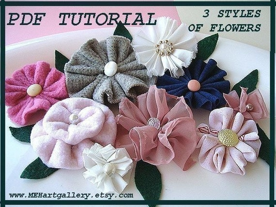 Fabric Flower tutorial No. 10 easy 3 STYLES OF FLOWERS  3 flowers in one pattern...make them to sell them..