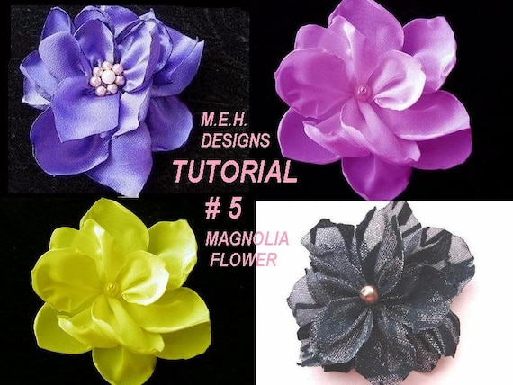 Fabric Flower TUTORIAL, num. 5, Magnolia type flowers, Bridal headpieces, Necklaces, or Broochs  make them to sell them no sewing machine