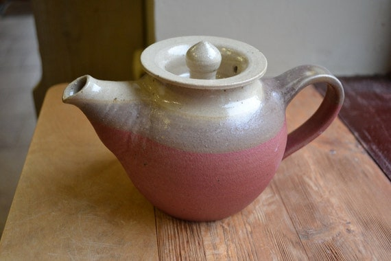 Hand thrown stoneware pink, white and grey small teapot for two