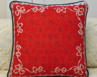 Vintage red ribbons handkerchief pillow