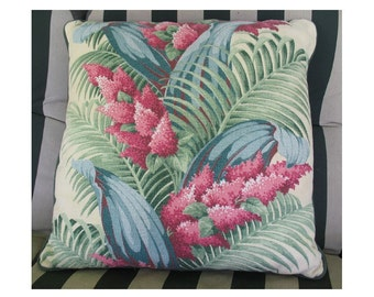 """Vintage """"Summer Dreams"""" Pink Plumes and Palm Fronds Barkcloth pillow"""