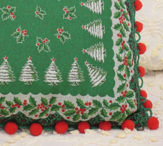 Vintage 20 Trees Xmas Handkerchief pillow