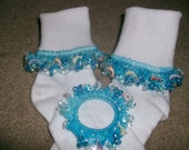 Turquoise Jumping Dolphins Beaded Socks and Scrunchie