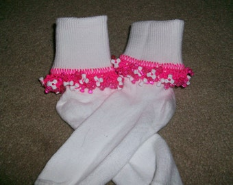 Hot Pink and White Beaded Socks and Scrunchie