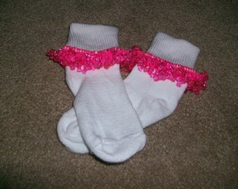 Hot Pink Beaded Socks and Scrunchie Sale