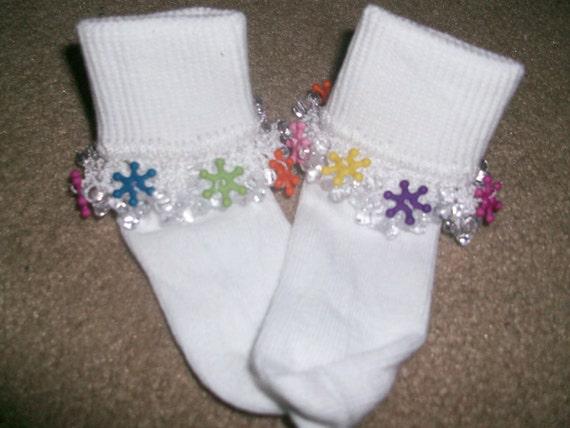 Colored Snowflake Beaded Socks