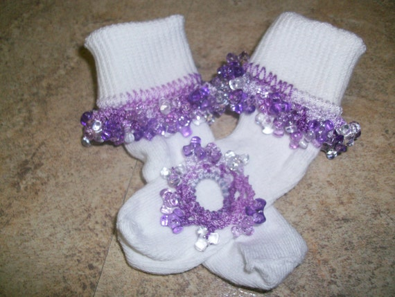 Shades of Purple Beaded socks, fancy socks, ruffle socks, girls socks, dressy socks, lace socks, bobby socks, baby socks and scrunchie