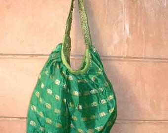 Green brocade shoulder hip bag