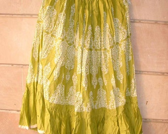 In the flow.........lime green color with white print on it