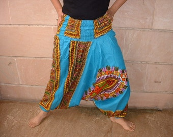Harem pants.....turq blue color with floral screen print