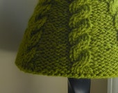 Lampshade Cover for small Target shade - featured in Time Out New York Magazine - hand knit cabled cozy in moss green