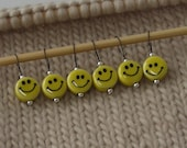 knitting stitch markers - snag free - retro happy face ceramic beads - set of 6 - two loop sizes available