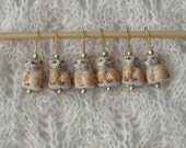 knitting stitch markers - snag free - ceramic calico cat beads - golden yellow - set of 6 - two loop sizes available