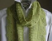 Lace Scarf Shawl - Easy Knitting Pattern - Front Porch Fern Leaf Lace - scarf cowl shawl wrap -  pattern using sock fingering yarn