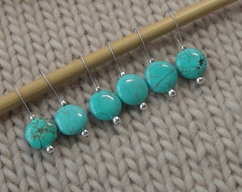 knitting stitch markers - snag free - turquoise semi precious stones 12mm flat round - set of 6 8 10 or 12 - three loop sizes available