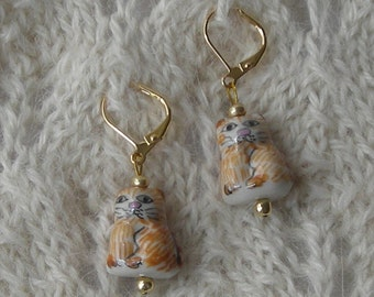 Calico Cat knitting crochet stitch markers removable - ceramic beads - golden yellow kitty