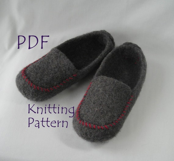 Knitting Pattern PDF - Mens Felted Wool Slippers - great DIY gift - knit...