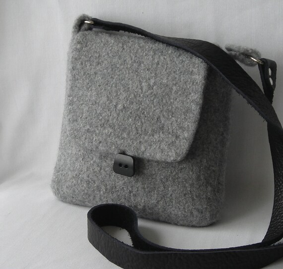 Felted Wool Sweetwater Hipster Bag - hand knit shoulder bag  handbag in fog gray with black leather strap - Ready to Ship