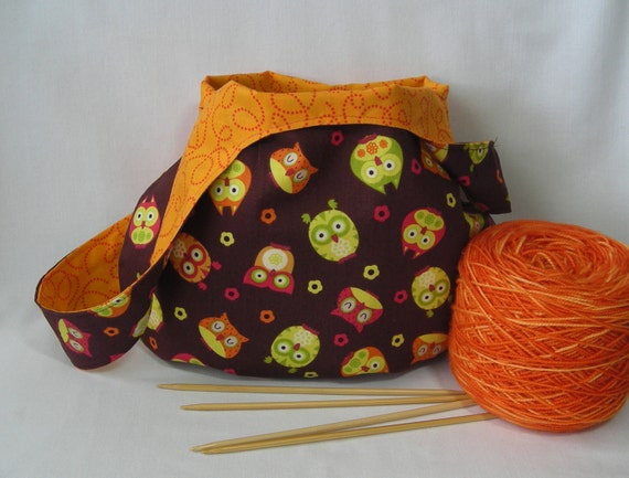 project bag - knitting bag- crochet bag - brown orange owl print - free knitting pattern with purchase