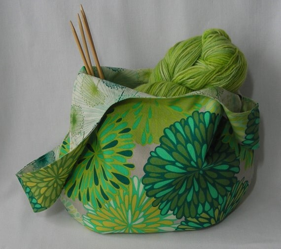 Special order for Jude ~ japanese knot bag - knitting project bag - reversible -  Wrenly fabric moss green - free knitting pattern included