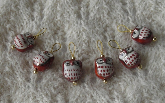 Owl Knitting Stitch Markers - snag free - ceramic owl beads - brown and gold - set of 6 - two loop sizes available