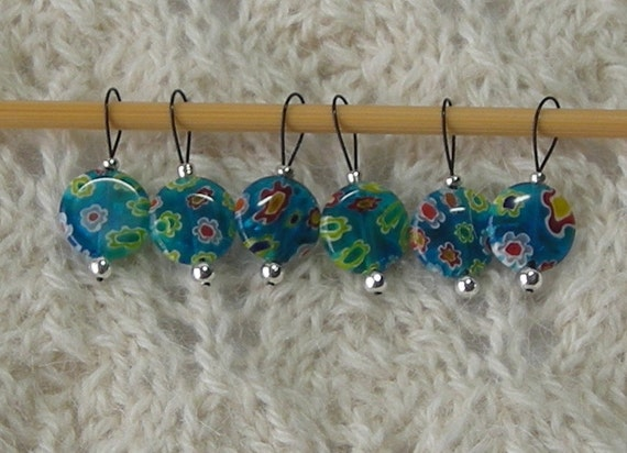 knitting stitch markers - snag free - turquoise millefiori bead 12mm - set of 6 - three loop sizes available