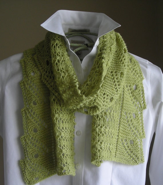 Knitting Patterns For Scarves Using Sock Yarn : Lace Scarf Shawl Easy Knitting Pattern by lavenderhillknits