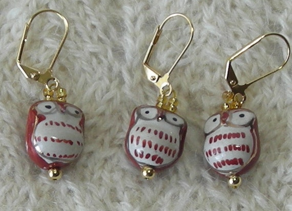owl crochet stitch markers - knitting stitch markers - removable - ceramic brown and gold owl beads - set of 6