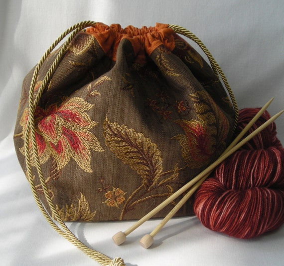 Project Bag for knitting or crochet - Jacobean floral print brown gold orange  - free knitting pattern with purchase