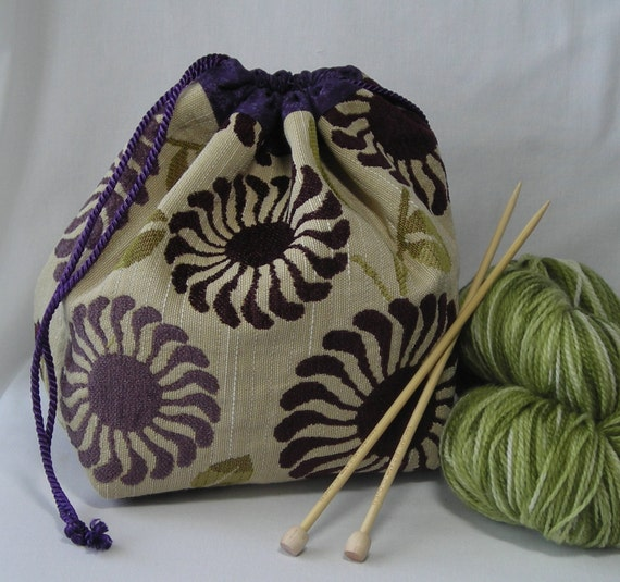 Project Bag for knitting or crochet - chenille leaves and flowers - purple lavender green  - free knitting pattern with purchase