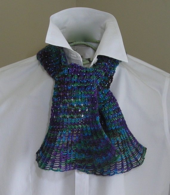 Knitting Pattern PDF- Waterfall Lace Cravat - great for gifts - scarf cowl wr...