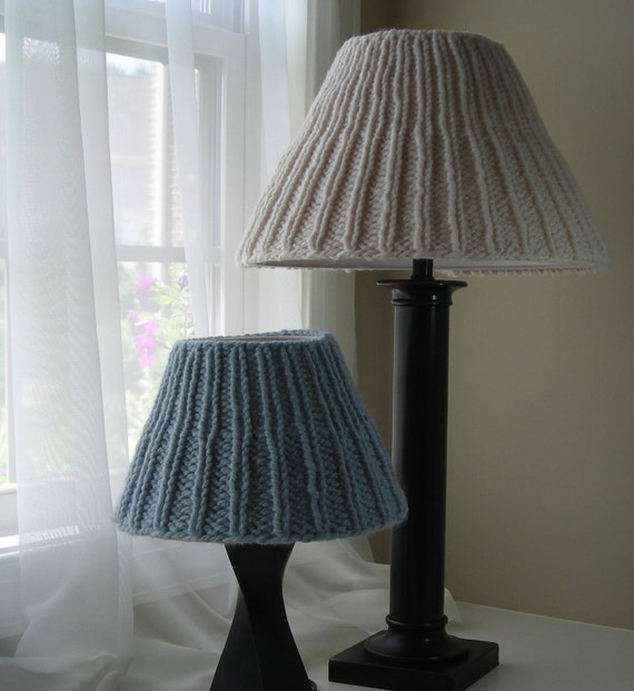 Lampshade Cover Knitting Pattern - Simplicity Ribbed Lampshade Covers for shades in five sizes - lighting lampshade lvingroom bedroom